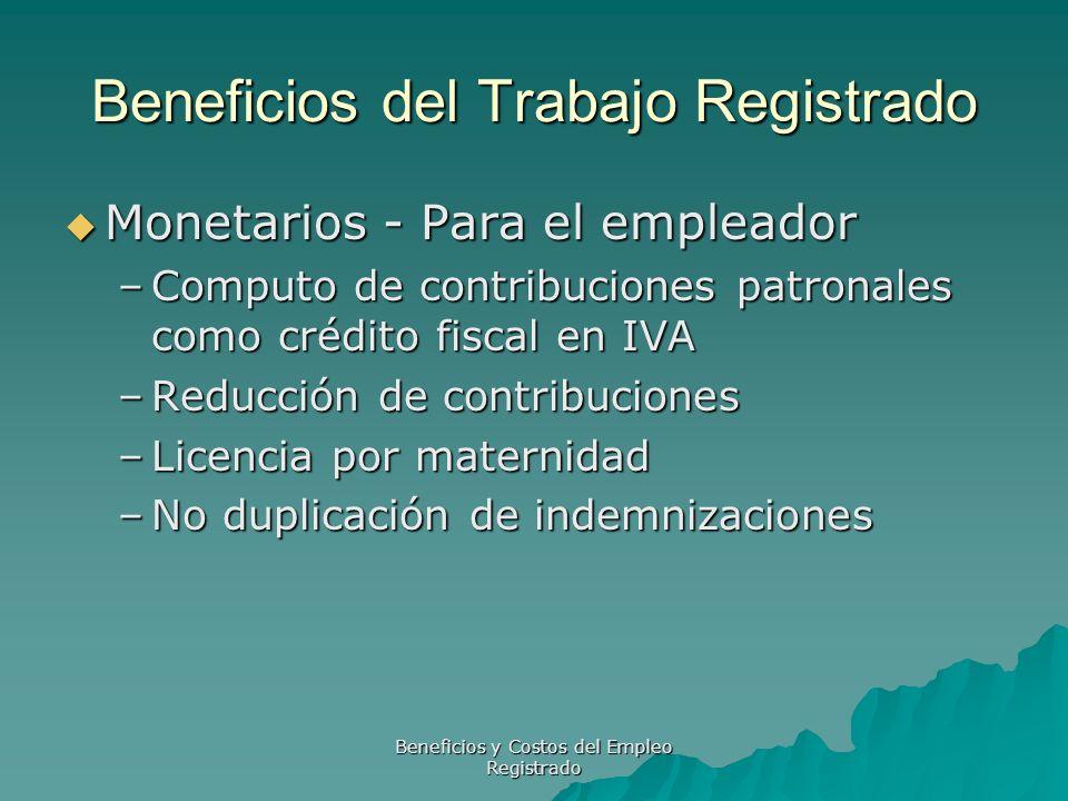 Beneficios y Costos del Empleo Registrado Beneficios del Trabajo Registrado Monetarios - Para el trabajador Monetarios - Para el trabajador –Mayor sueldo de bolsillo –S.A.C.
