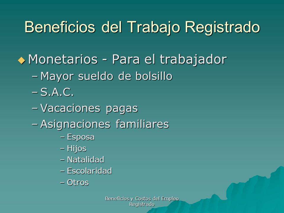 Beneficios y Costos del Empleo Registrado Beneficios del Trabajo Registrado Monetarios - Para el trabajador Monetarios - Para el trabajador –Mayor sue