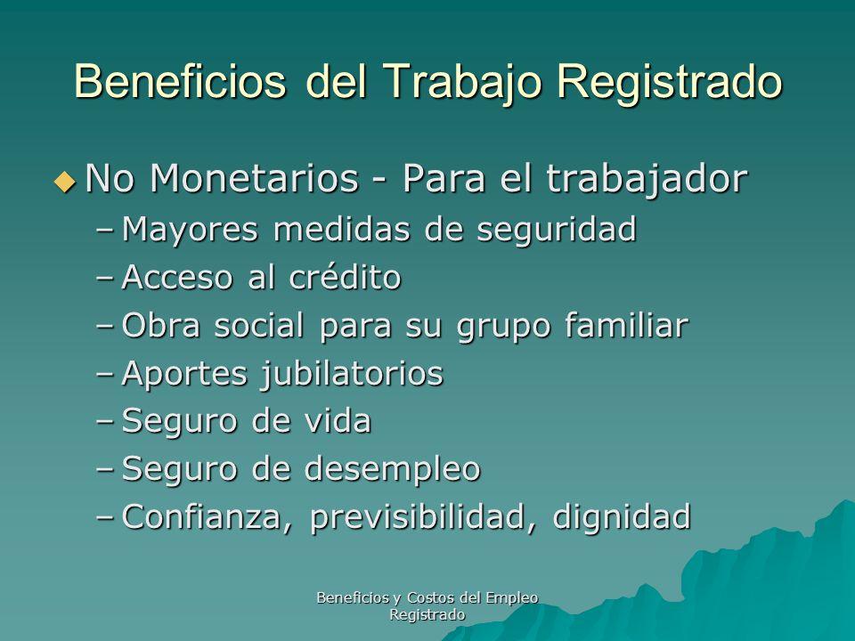 Beneficios y Costos del Empleo Registrado Beneficios del Trabajo Registrado No Monetarios - Para el trabajador No Monetarios - Para el trabajador –May