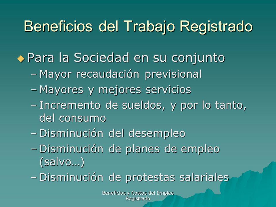 Beneficios y Costos del Empleo Registrado Beneficios del Trabajo Registrado Para la Sociedad en su conjunto Para la Sociedad en su conjunto –Mayor rec