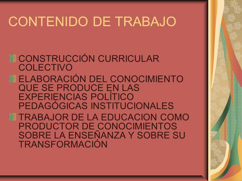 CONTENIDO DE TRABAJO CONSTRUCCIÓN CURRICULAR COLECTIVO ELABORACIÓN DEL CONOCIMIENTO QUE SE PRODUCE EN LAS EXPERIENCIAS POLÍTICO PEDAGÓGICAS INSTITUCIONALES TRABAJOR DE LA EDUCACION COMO PRODUCTOR DE CONOCIMIENTOS SOBRE LA ENSEÑANZA Y SOBRE SU TRANSFORMACIÓN