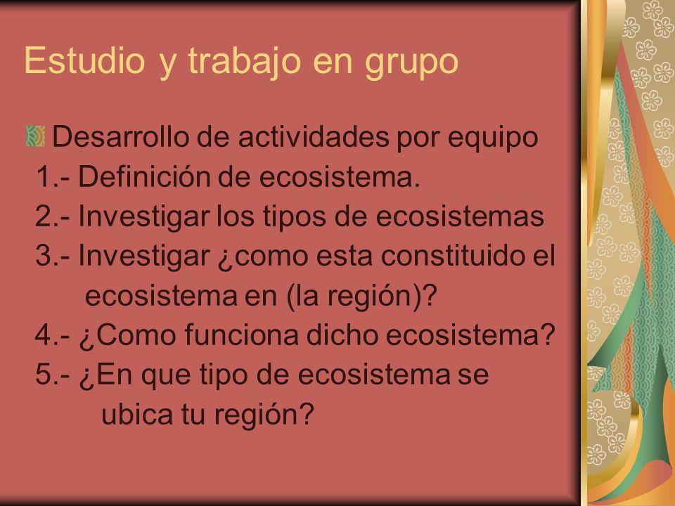 Estudio y trabajo en grupo Desarrollo de actividades por equipo 1.- Definición de ecosistema. 2.- Investigar los tipos de ecosistemas 3.- Investigar ¿