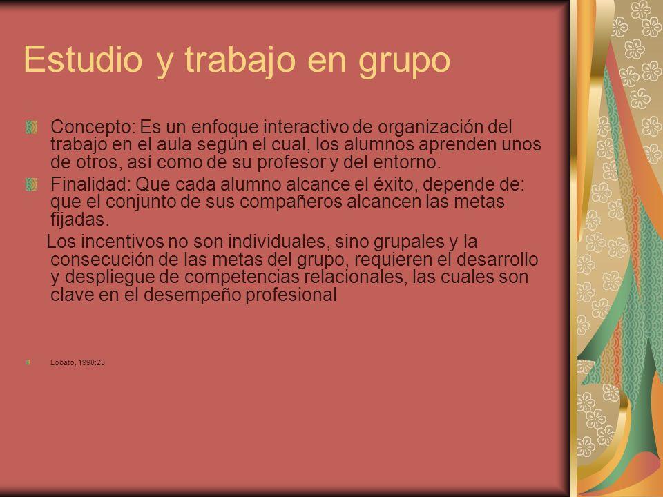 Estudio y trabajo en grupo Concepto: Es un enfoque interactivo de organización del trabajo en el aula según el cual, los alumnos aprenden unos de otro