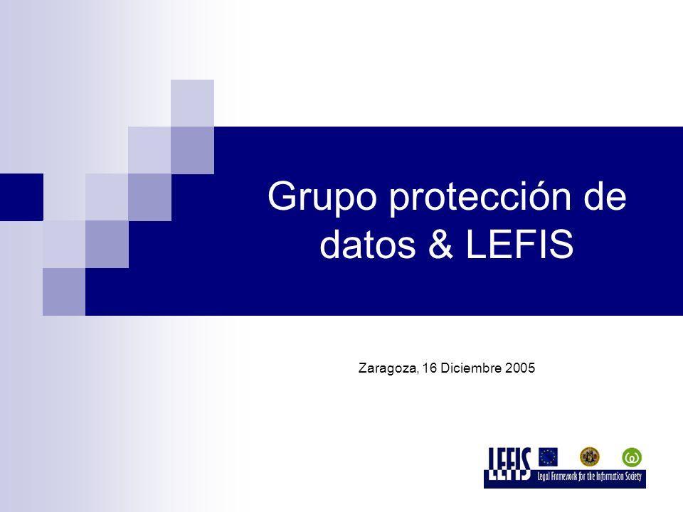 Grupo protección de datos & LEFIS Zaragoza, 16 Diciembre 2005