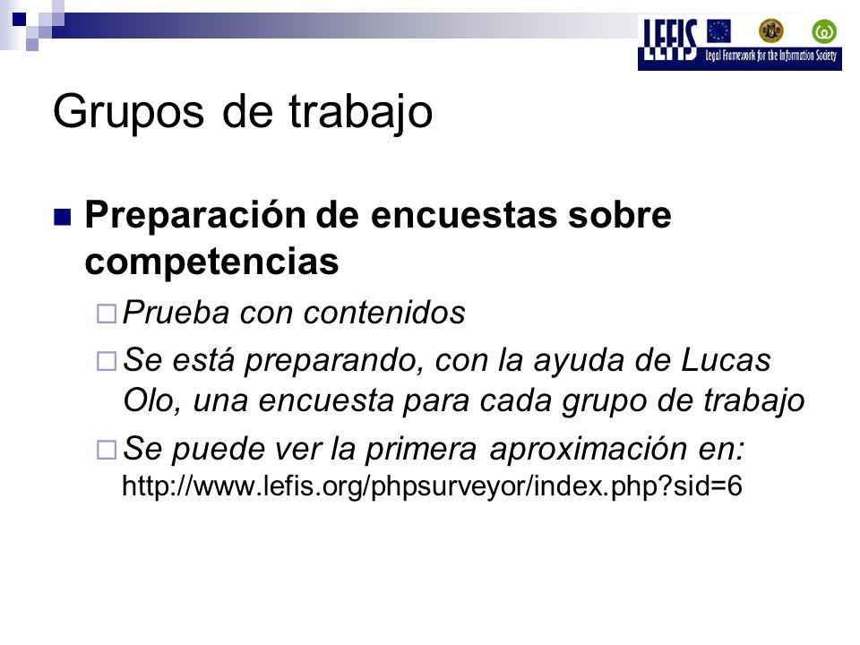 Grupos de trabajo Preparación de encuestas sobre competencias Prueba con contenidos Se está preparando, con la ayuda de Lucas Olo, una encuesta para cada grupo de trabajo Se puede ver la primera aproximación en: http://www.lefis.org/phpsurveyor/index.php sid=6