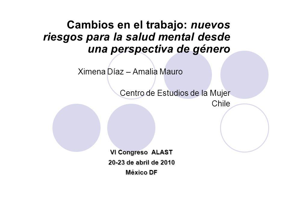 Cambios en el trabajo: nuevos riesgos para la salud mental desde una perspectiva de género Ximena Díaz – Amalia Mauro Centro de Estudios de la Mujer C
