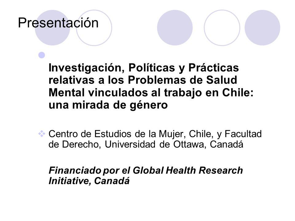 Dos ejes de investigación Eje 1: Identificar los factores que afectan la salud mental de la población trabajadora en Chile, particularmente a la luz de las nuevas formas de organización del trabajo, y de las desigualdades sociales y de género.