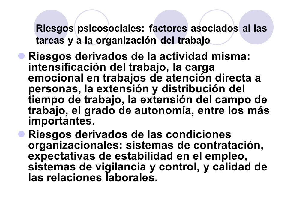 Riesgos psicosociales: factores asociados al las tareas y a la organización del trabajo Riesgos derivados de la actividad misma: intensificación del t