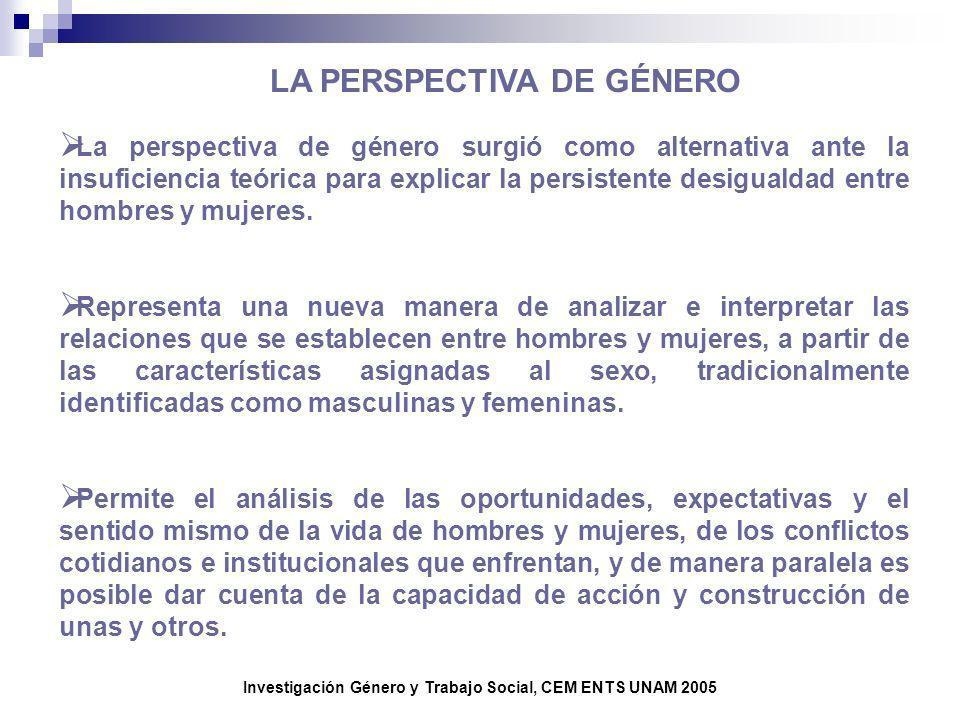 Investigación Género y Trabajo Social, CEM ENTS UNAM 2005 LA PERSPECTIVA DE GÉNERO La perspectiva de género surgió como alternativa ante la insuficien