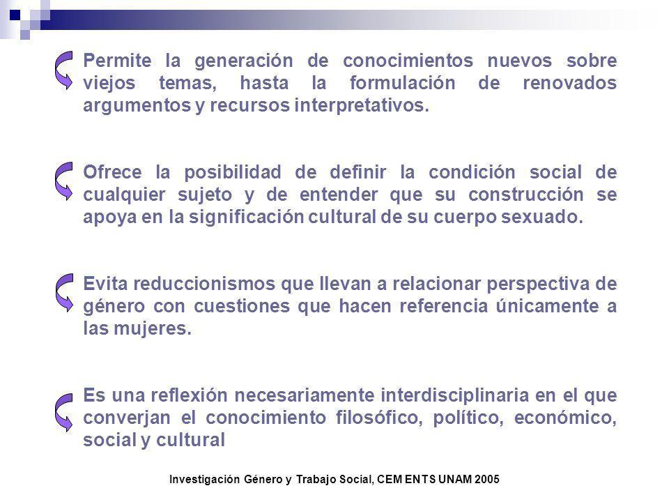 Investigación Género y Trabajo Social, CEM ENTS UNAM 2005 Permite la generación de conocimientos nuevos sobre viejos temas, hasta la formulación de re