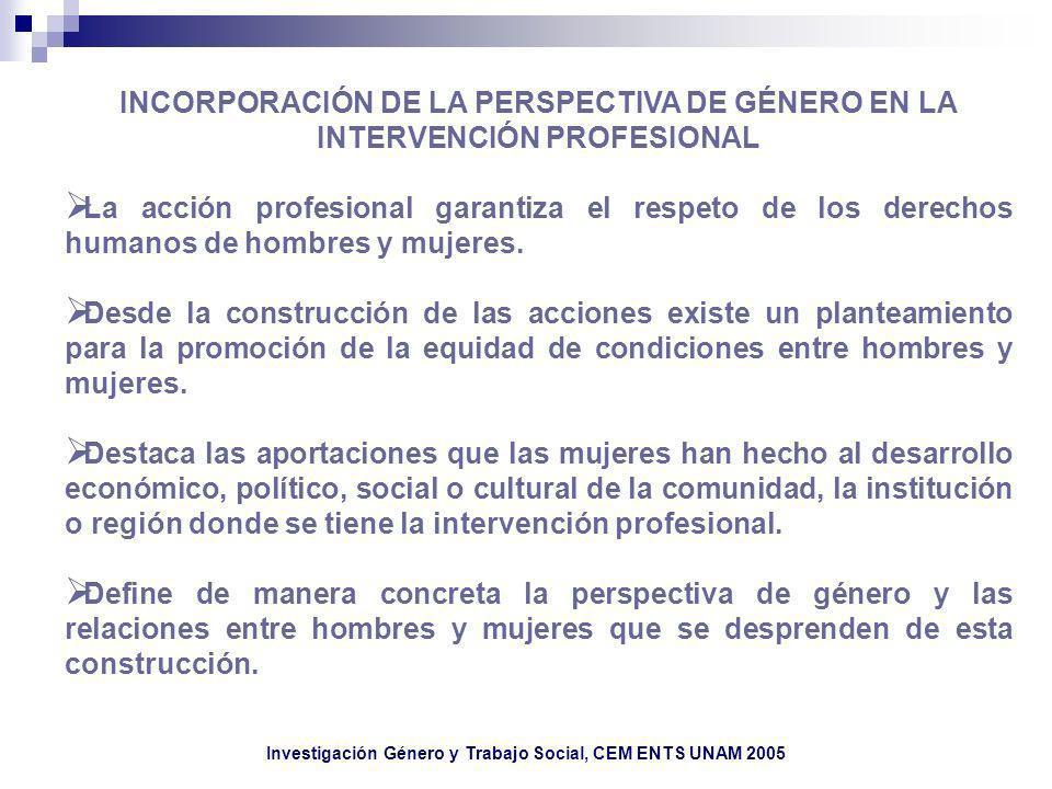 Investigación Género y Trabajo Social, CEM ENTS UNAM 2005 INCORPORACIÓN DE LA PERSPECTIVA DE GÉNERO EN LA INTERVENCIÓN PROFESIONAL La acción profesion