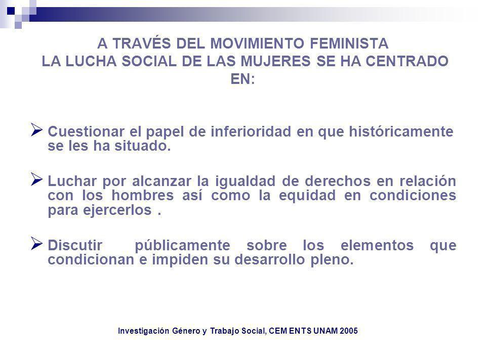 A TRAVÉS DEL MOVIMIENTO FEMINISTA LA LUCHA SOCIAL DE LAS MUJERES SE HA CENTRADO EN: Cuestionar el papel de inferioridad en que históricamente se les h