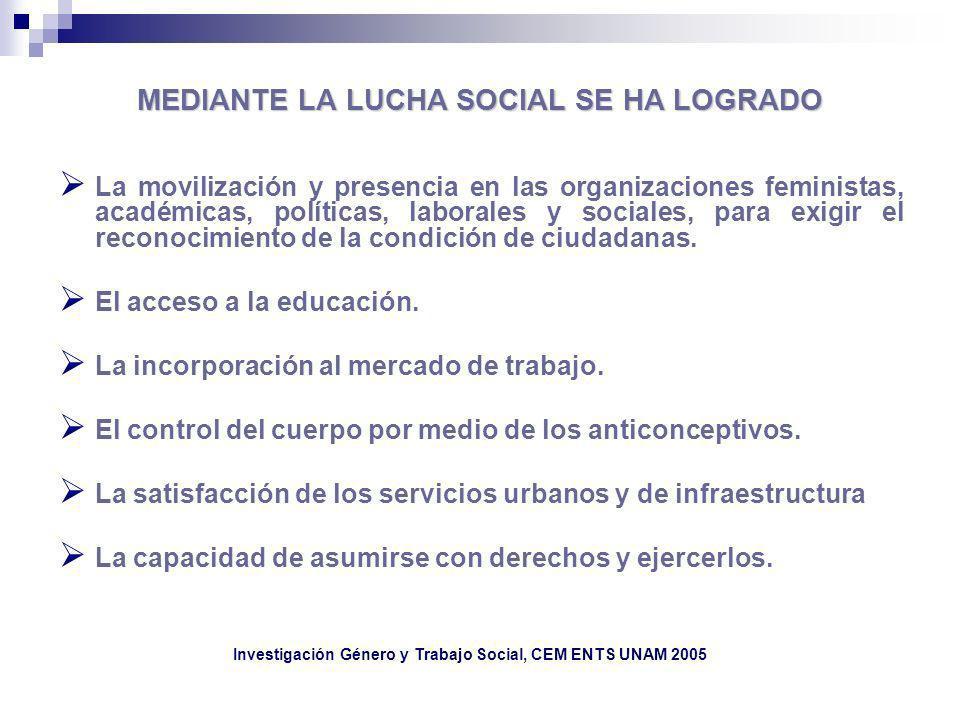 MEDIANTE LA LUCHA SOCIAL SE HA LOGRADO La movilización y presencia en las organizaciones feministas, académicas, políticas, laborales y sociales, para