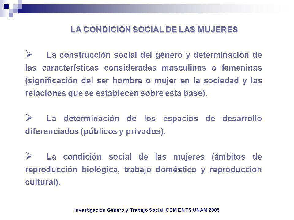 LA CONDICIÓN SOCIAL DE LAS MUJERES La construcción social del género y determinación de las características consideradas masculinas o femeninas (signi