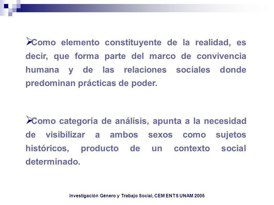 Investigación Género y Trabajo Social, CEM ENTS UNAM 2005 Como elemento constituyente de la realidad, es decir, que forma parte del marco de convivenc