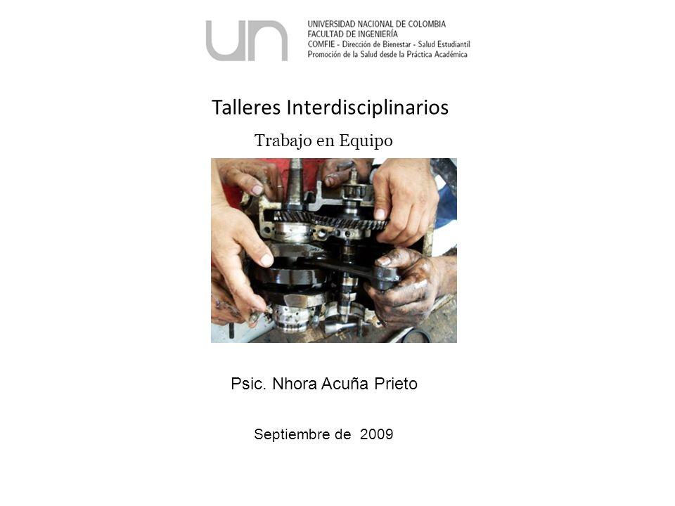 Talleres Interdisciplinarios Trabajo en Equipo Psic. Nhora Acuña Prieto Septiembre de 2009