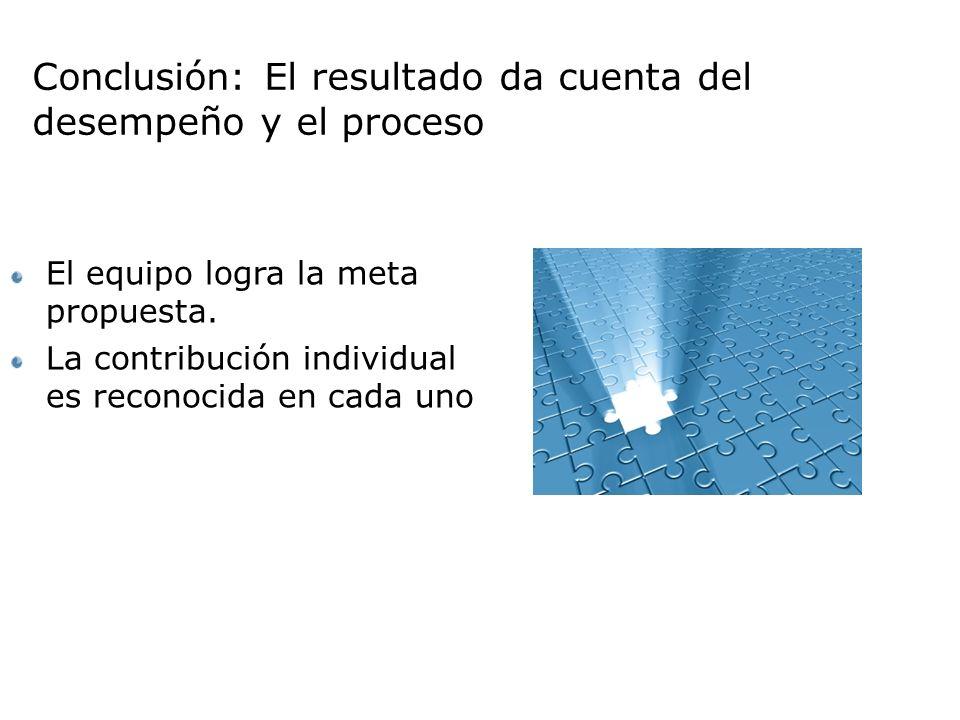 Conclusión: El resultado da cuenta del desempeño y el proceso El equipo logra la meta propuesta.