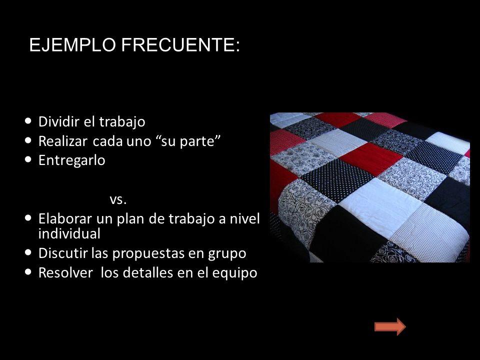 EJEMPLO FRECUENTE: Dividir el trabajo Realizar cada uno su parte Entregarlo vs.