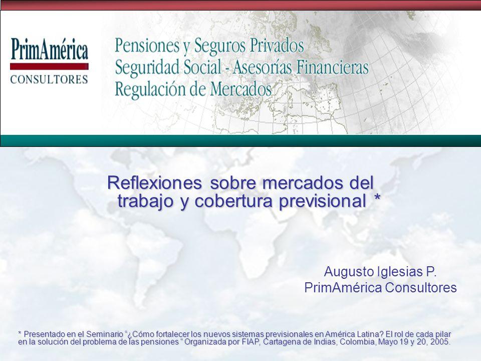 Reflexiones sobre mercados del trabajo y cobertura previsional * Augusto Iglesias P.