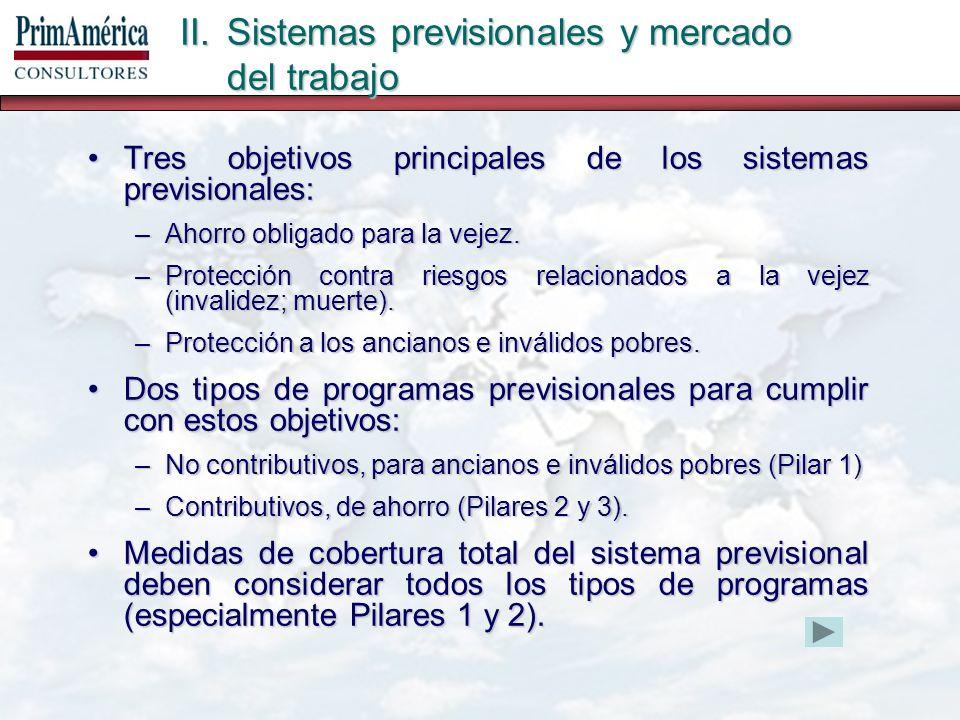 II.Sistemas previsionales y mercado del trabajo Tres objetivos principales de los sistemas previsionales:Tres objetivos principales de los sistemas previsionales: –Ahorro obligado para la vejez.