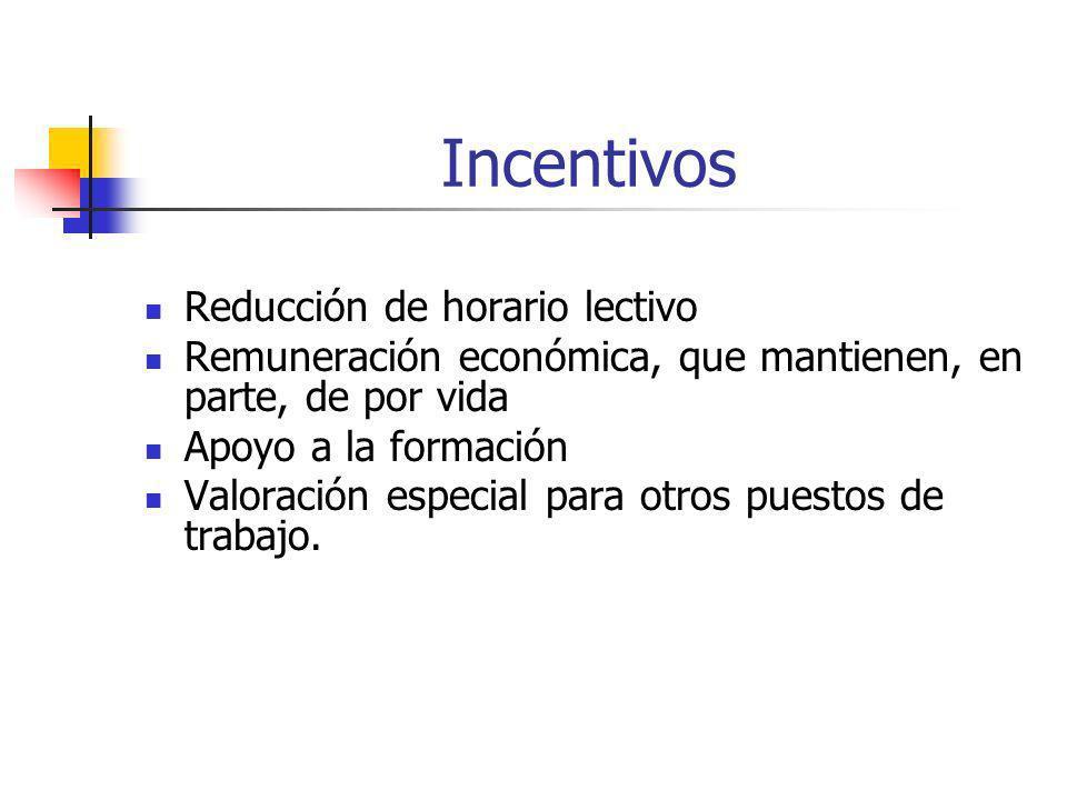 Incentivos Reducción de horario lectivo Remuneración económica, que mantienen, en parte, de por vida Apoyo a la formación Valoración especial para otr