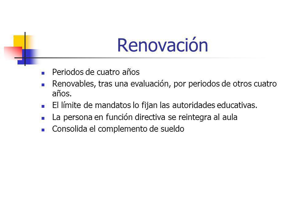 Renovación Periodos de cuatro años Renovables, tras una evaluación, por periodos de otros cuatro años. El límite de mandatos lo fijan las autoridades
