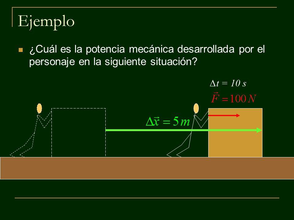 M Ejercicio ¿Qué potencia desarrolla la persona al elevar con velocidad constante hasta 1,5 m de altura una caja de 20 kg, si se demora 3 s en realizar la tarea?