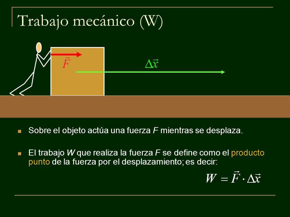 Trabajo mecánico y dirección de la fuerza aplicada La fuerza puede actuar sobre el objeto en distintas direcciones.