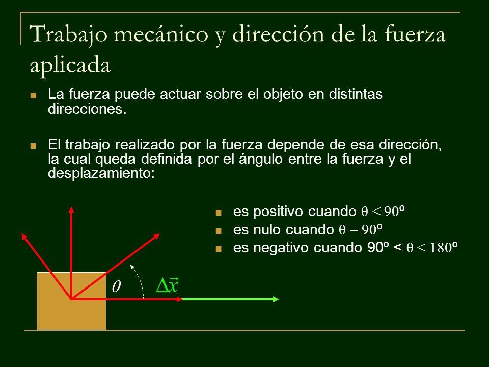 Trabajo mecánico (W) El producto punto entre la fuerza aplicada a un objeto y el desplazamiento que este realiza es una magnitud escalar que se mide en [Nm], unidad que recibe el nombre de Joule [J] Para calcular el valor del producto punto entre los dos vectores se usa la siguiente definición: Donde θ es el ángulo entre el vector fuerza y el vector desplazamiento.