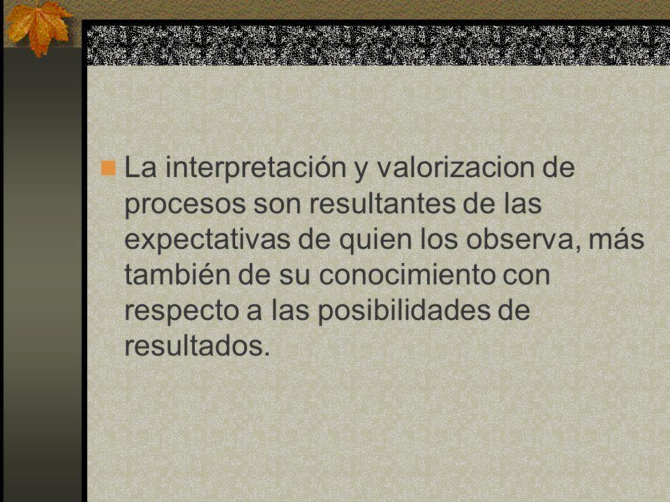 La interpretación y valorizacion de procesos son resultantes de las expectativas de quien los observa, más también de su conocimiento con respecto a l