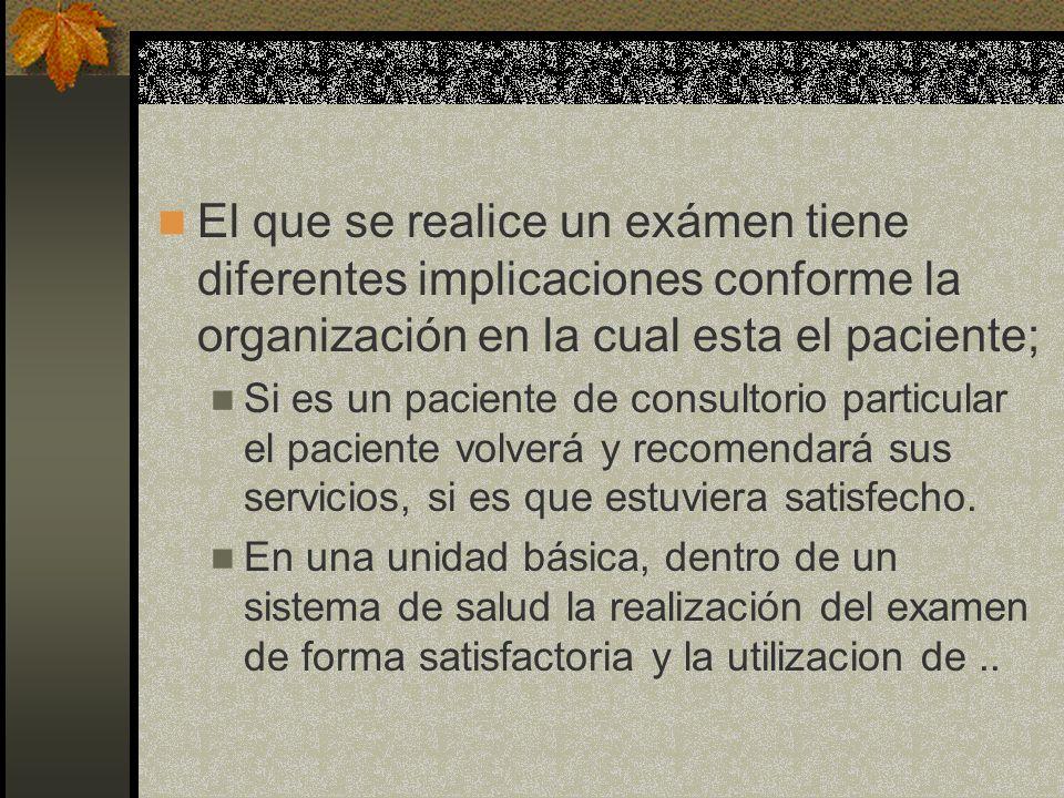 El que se realice un exámen tiene diferentes implicaciones conforme la organización en la cual esta el paciente; Si es un paciente de consultorio part