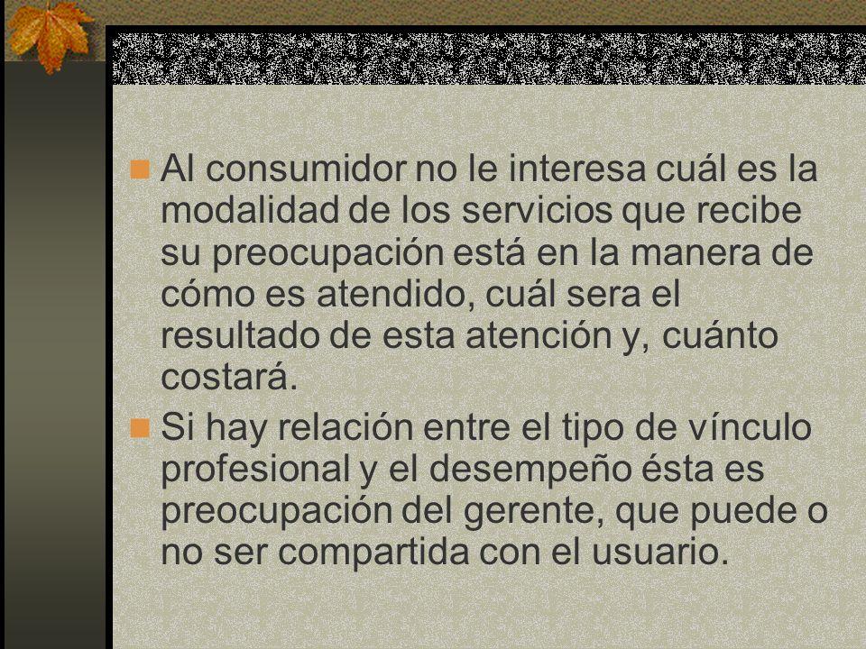 Al consumidor no le interesa cuál es la modalidad de los servicios que recibe su preocupación está en la manera de cómo es atendido, cuál sera el resu