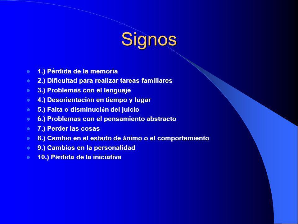 Signos 1.) Pérdida de la memoria 2.) Dificultad para realizar tareas familiares 3.) Problemas con el lenguaje 4.) Desorientaci ó n en tiempo y lugar 5