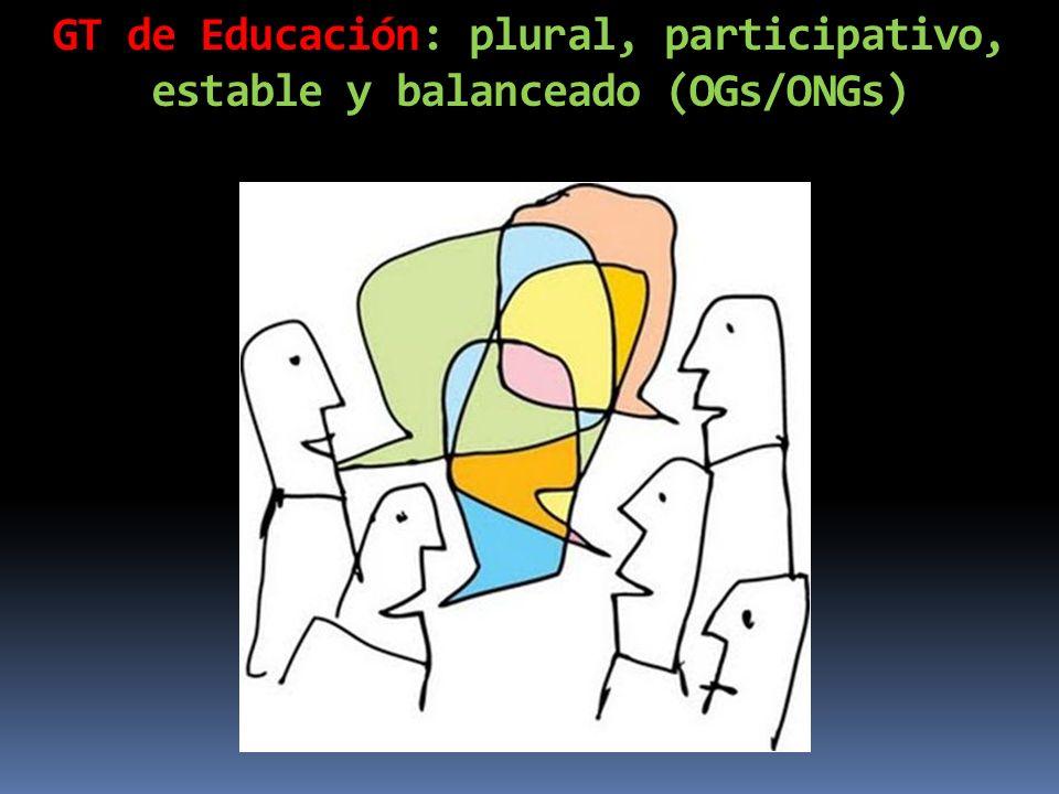 GT de Educación: plural, participativo, estable y balanceado (OGs/ONGs)