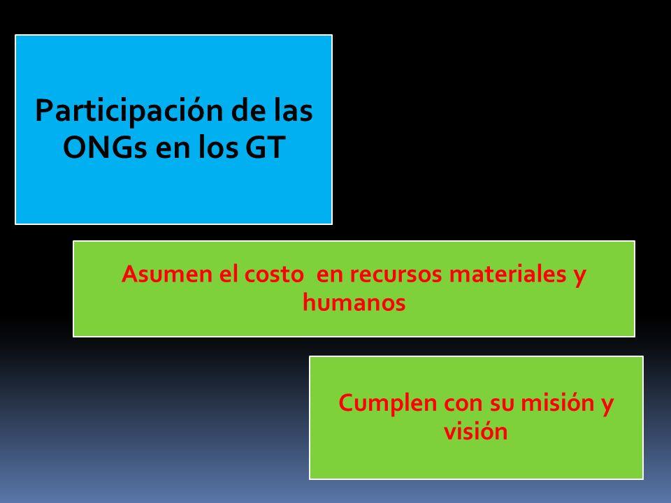 Asumen el costo en recursos materiales y humanos Cumplen con su misión y visión Participación de las ONGs en los GT