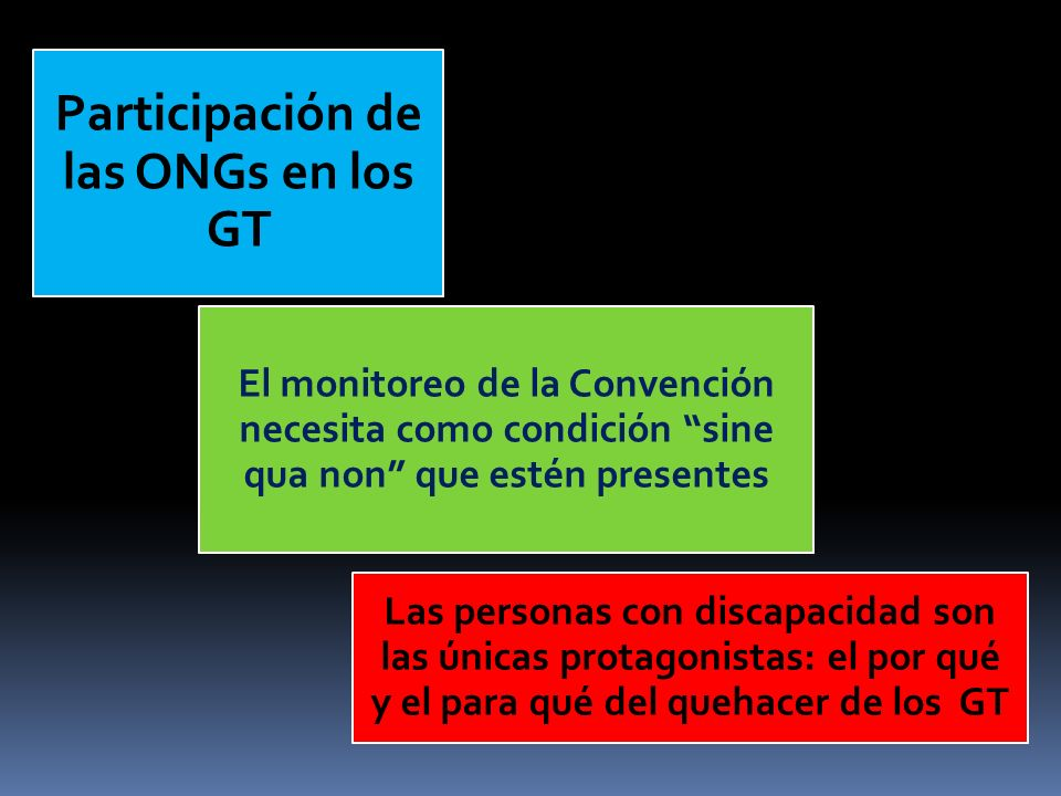 El monitoreo de la Convención necesita como condición sine qua non que estén presentes Las personas con discapacidad son las únicas protagonistas: el por qué y el para qué del quehacer de los GT Participación de las ONGs en los GT