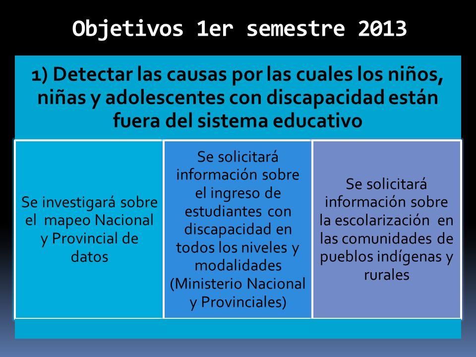 Objetivos 1er semestre 2013 1) Detectar las causas por las cuales los niños, niñas y adolescentes con discapacidad están fuera del sistema educativo S