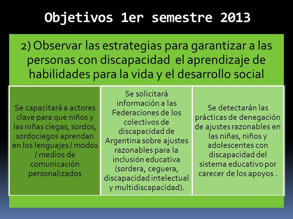 Objetivos 1er semestre 2013 2) Observar las estrategias para garantizar a las personas con discapacidad el aprendizaje de habilidades para la vida y e