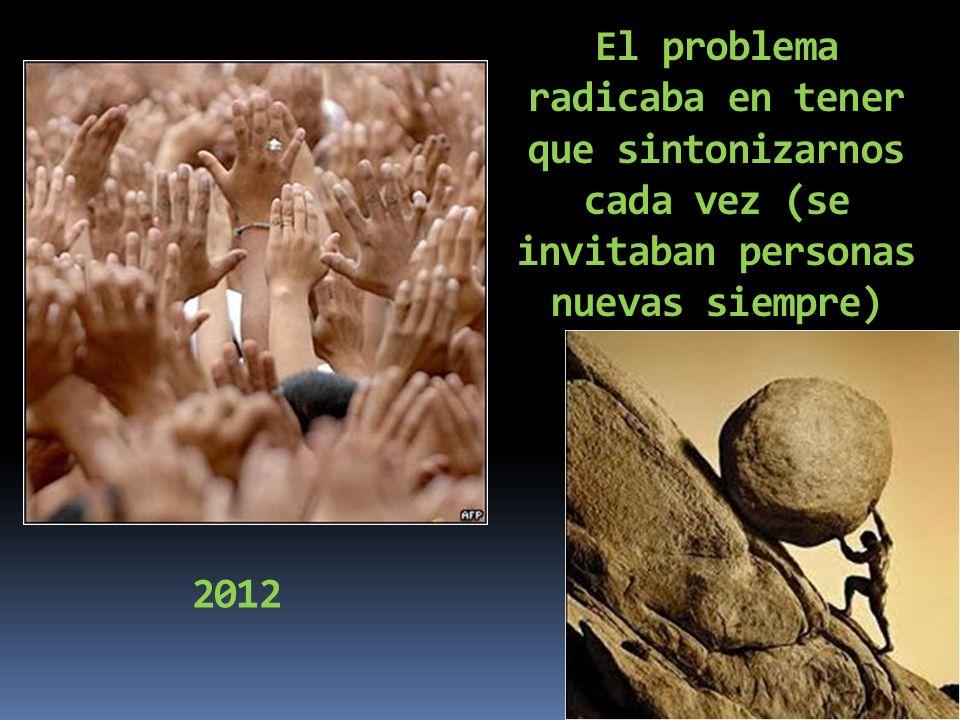 2012 El problema radicaba en tener que sintonizarnos cada vez (se invitaban personas nuevas siempre)