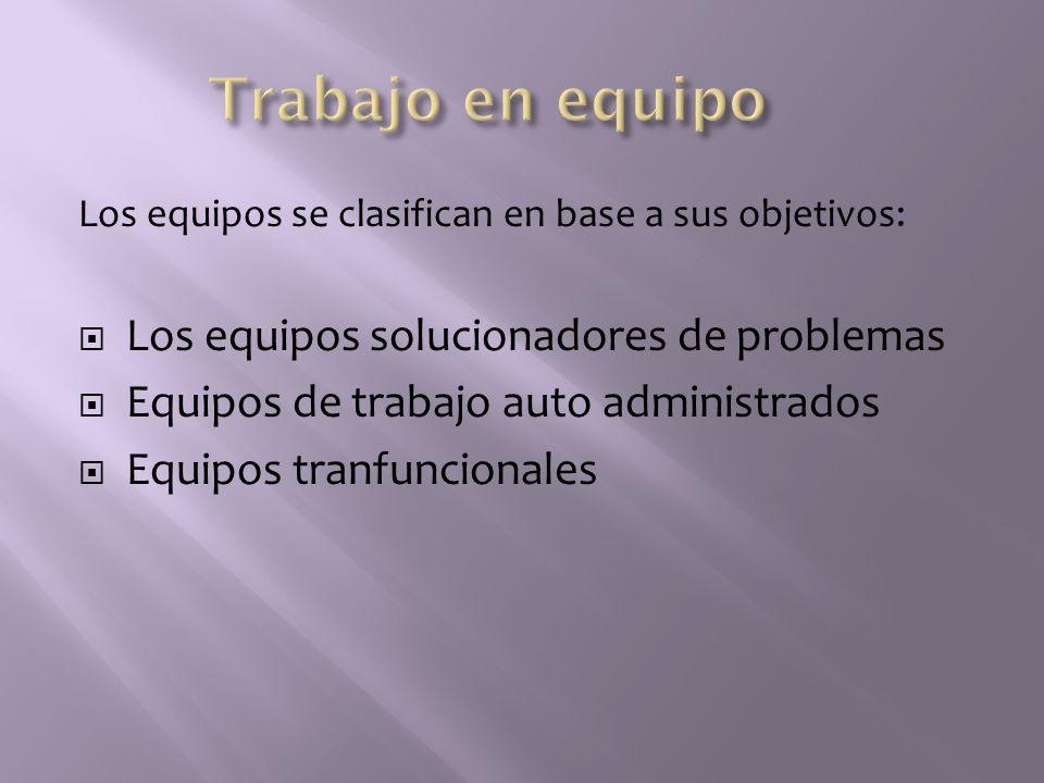 Los equipos se clasifican en base a sus objetivos: Los equipos solucionadores de problemas Equipos de trabajo auto administrados Equipos tranfuncional