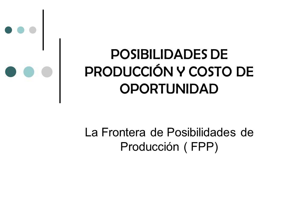 POSIBILIDADES DE PRODUCCIÓN Y COSTO DE OPORTUNIDAD La Frontera de Posibilidades de Producción ( FPP)