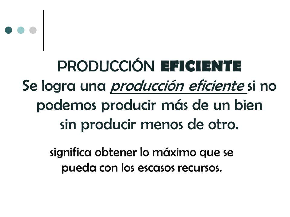 PRODUCCIÓN EFICIENTE Se logra una producción eficiente si no podemos producir más de un bien sin producir menos de otro. significa obtener lo máximo q