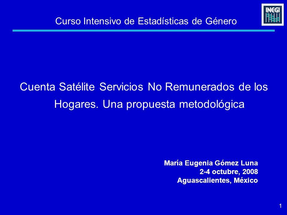 1 Curso Intensivo de Estadísticas de Género Cuenta Satélite Servicios No Remunerados de los Hogares. Una propuesta metodológica María Eugenia Gómez Lu