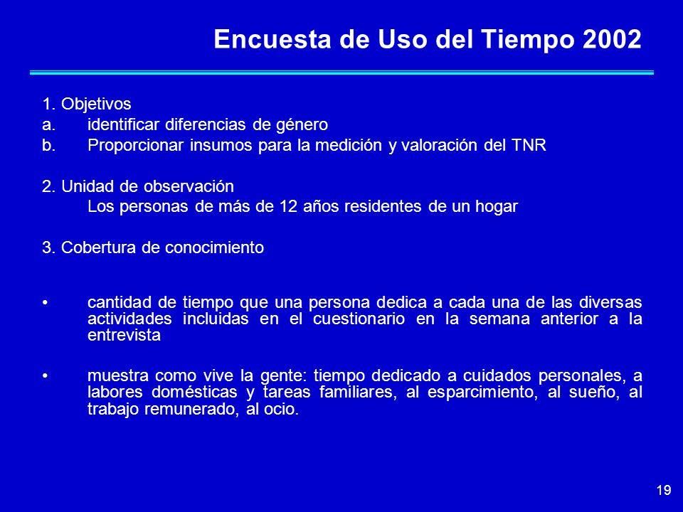 19 Encuesta de Uso del Tiempo 2002 1. Objetivos a.identificar diferencias de género b.Proporcionar insumos para la medición y valoración del TNR 2. Un