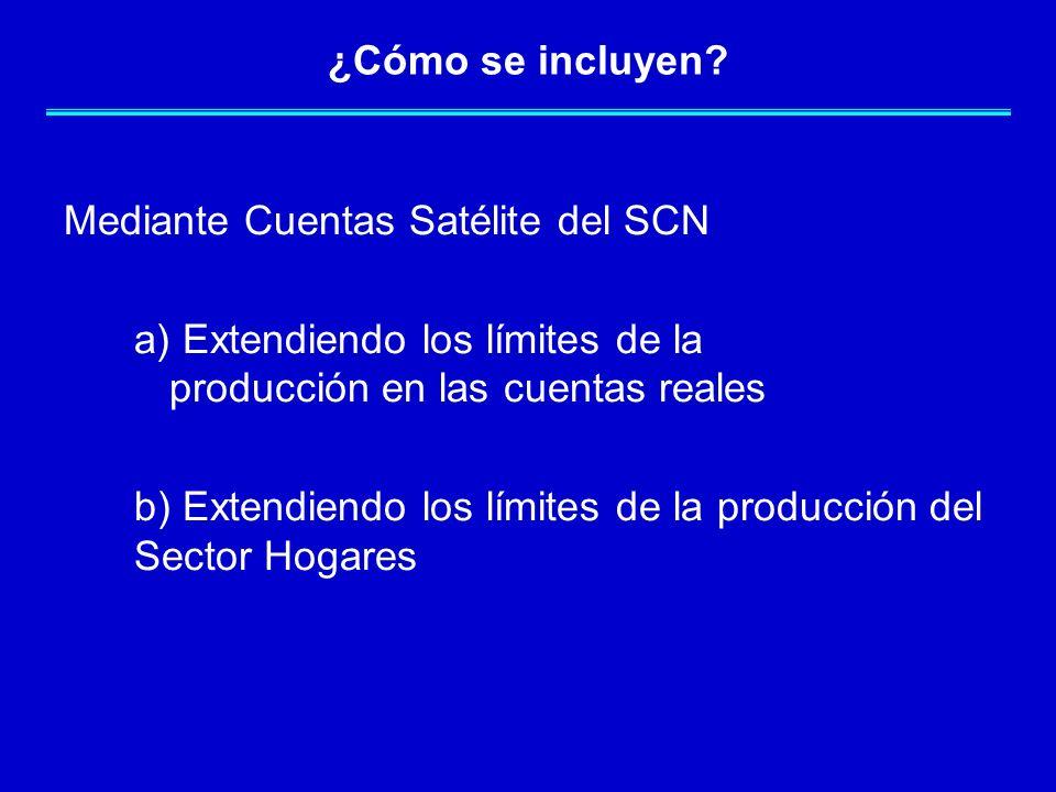 ¿Cómo se incluyen? Mediante Cuentas Satélite del SCN a) Extendiendo los límites de la producción en las cuentas reales b) Extendiendo los límites de l