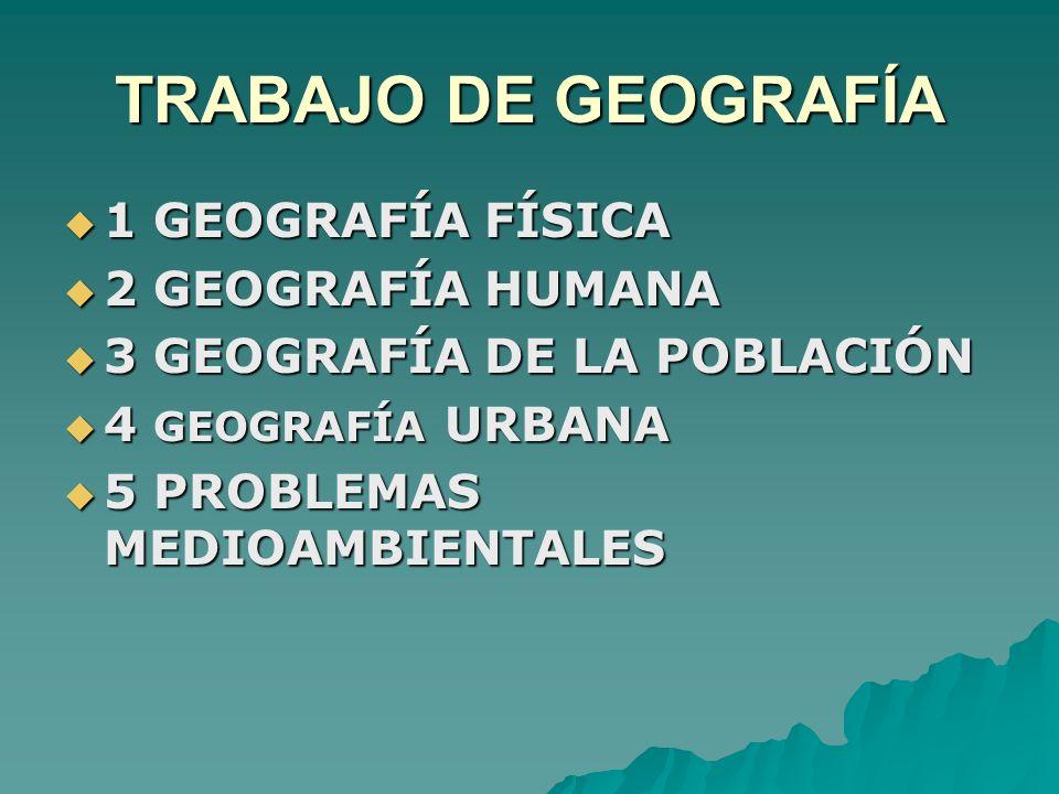 TRABAJO DE GEOGRAFÍA 1 GEOGRAFÍA FÍSICA 1 GEOGRAFÍA FÍSICA 2 GEOGRAFÍA HUMANA 2 GEOGRAFÍA HUMANA 3 GEOGRAFÍA DE LA POBLACIÓN 3 GEOGRAFÍA DE LA POBLACI