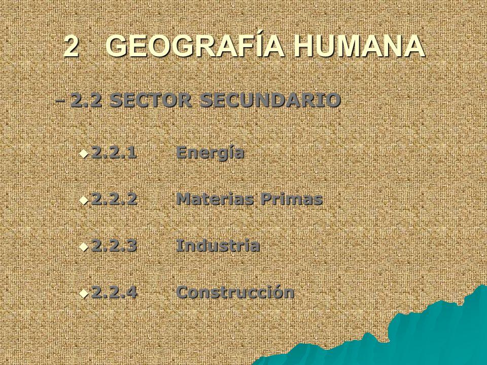 2 GEOGRAFÍA HUMANA –2.2 SECTOR SECUNDARIO 2.2.1 Energía 2.2.1 Energía 2.2.2 Materias Primas 2.2.2 Materias Primas 2.2.3 Industria 2.2.3 Industria 2.2.