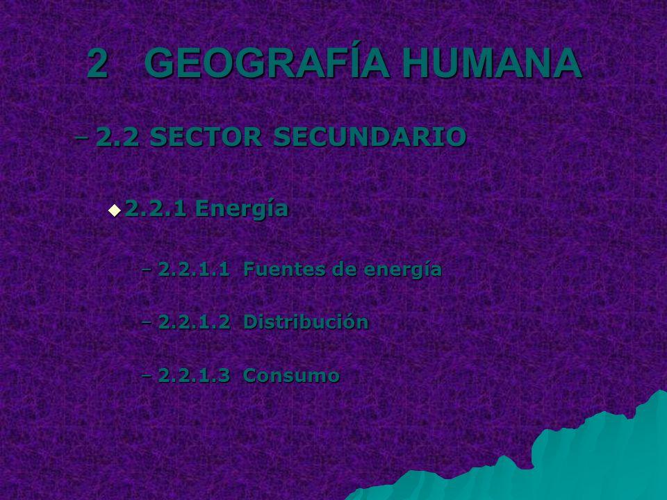 2 GEOGRAFÍA HUMANA –2.2 SECTOR SECUNDARIO 2.2.1 Energía 2.2.1 Energía –2.2.1.1 Fuentes de energía –2.2.1.2 Distribución –2.2.1.3 Consumo