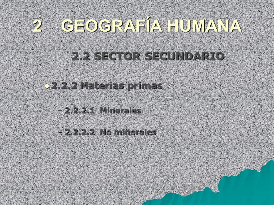 2 GEOGRAFÍA HUMANA 2.2 SECTOR SECUNDARIO 2.2.2 Materias primas 2.2.2 Materias primas –2.2.2.1 Minerales –2.2.2.2 No minerales