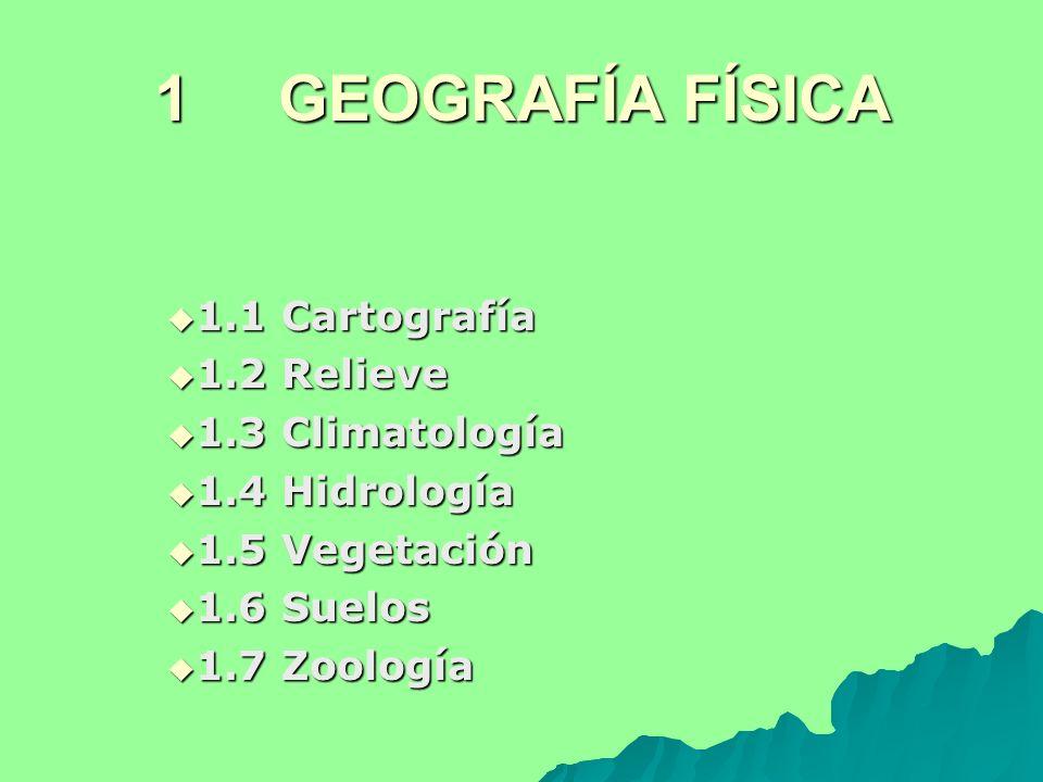1 GEOGRAFÍA FÍSICA 1.1 Cartografía 1.1 Cartografía 1.2 Relieve 1.2 Relieve 1.3 Climatología 1.3 Climatología 1.4 Hidrología 1.4 Hidrología 1.5 Vegetac